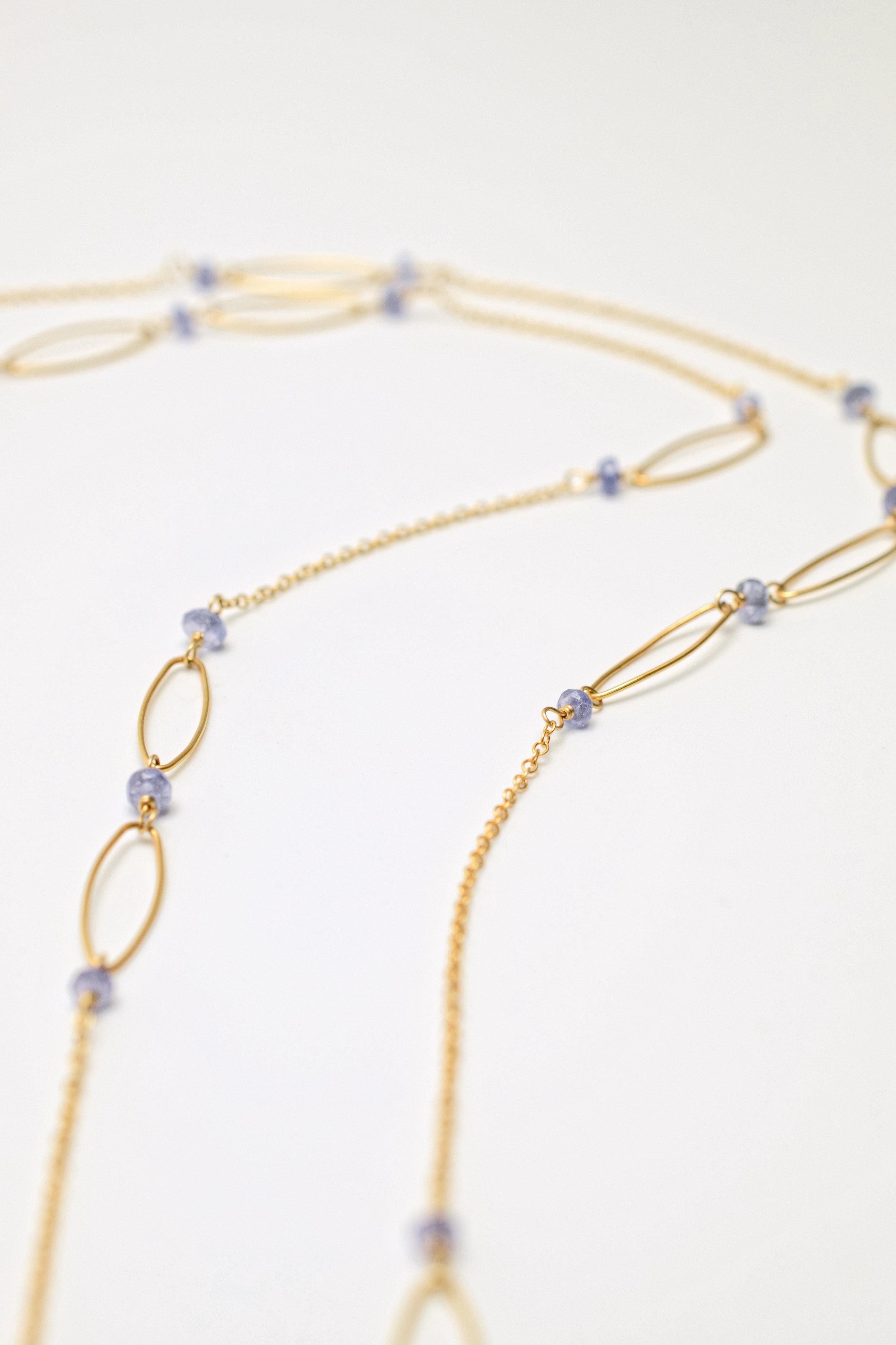 gemstone druzy double gold chain tassel long pendant necklace