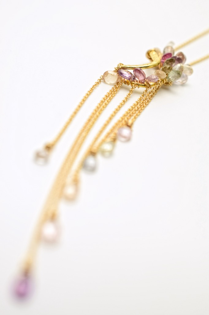 pink sapphire multi gold chain drop necklace