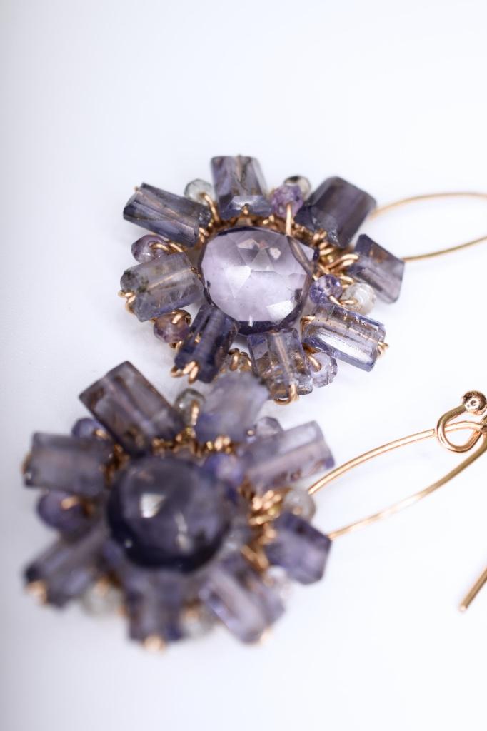 iolite starburst and gold earrings