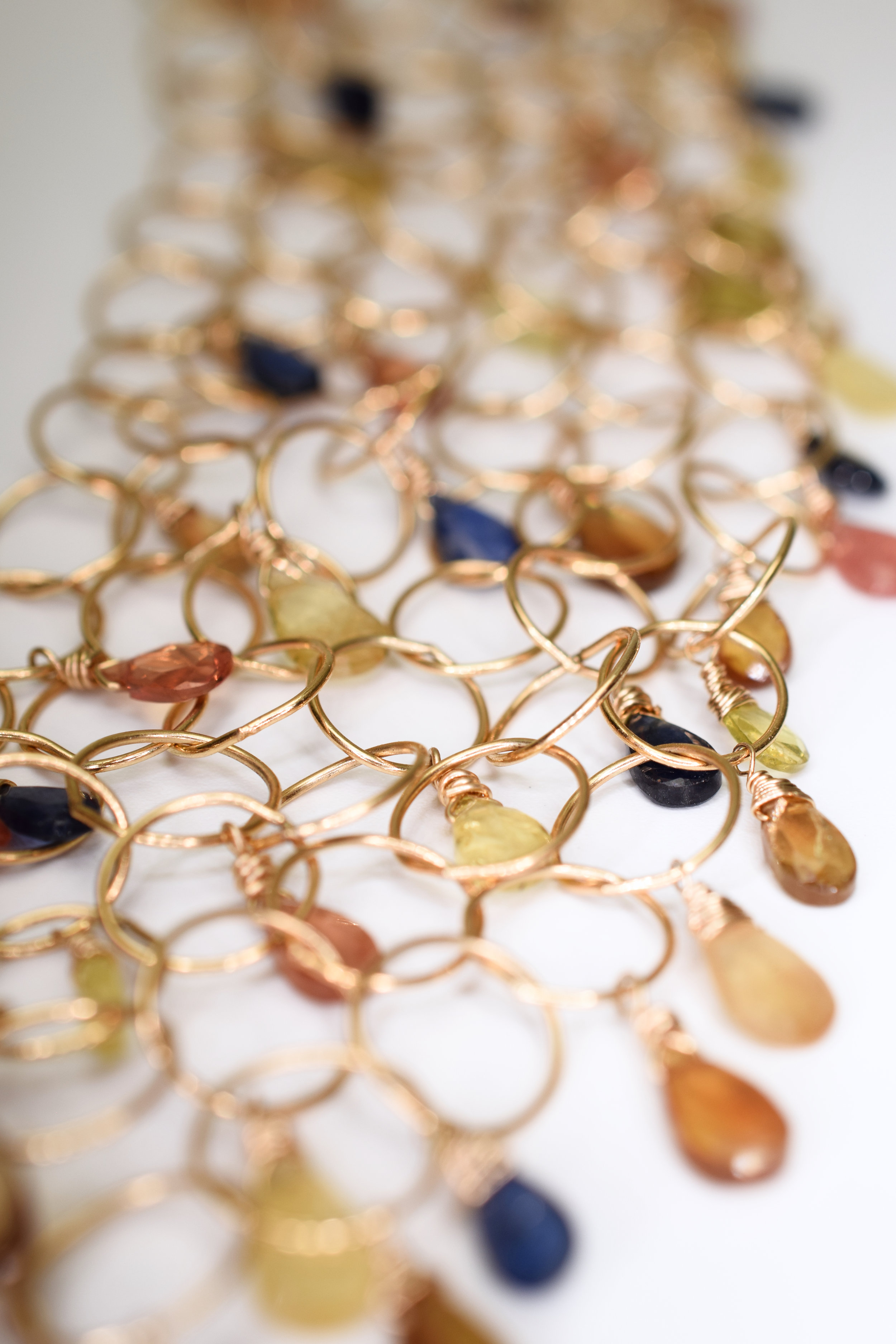 padparadscha sapphire multi layer gold link necklace