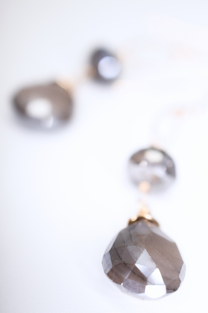 mystic labradorite pearlized moonstone gold drop earrings
