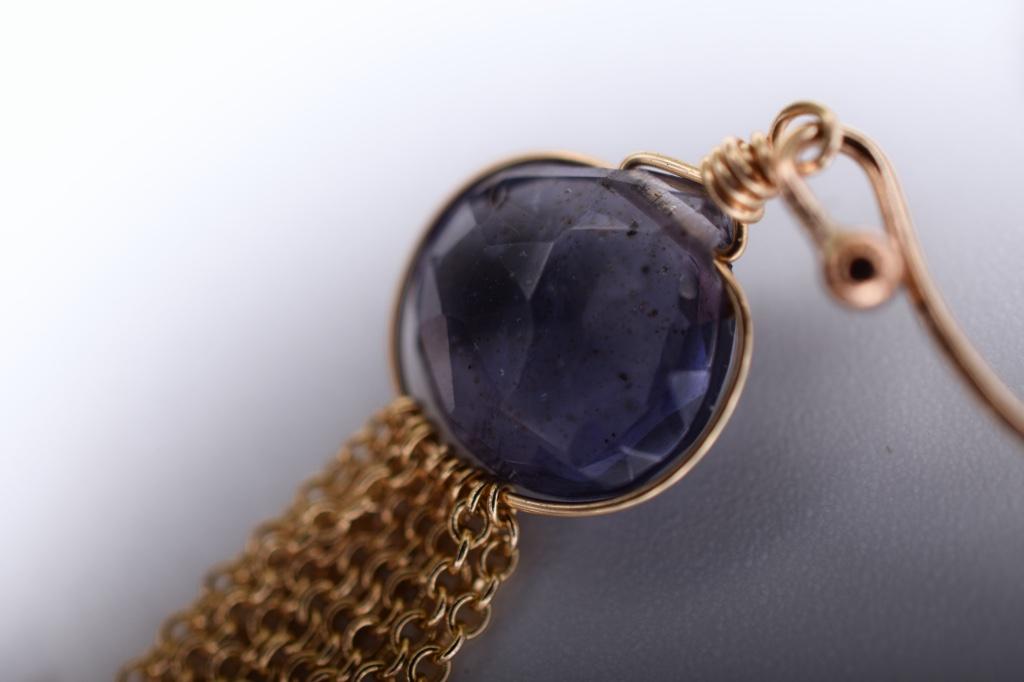 iolite multi gold chain drop earrings