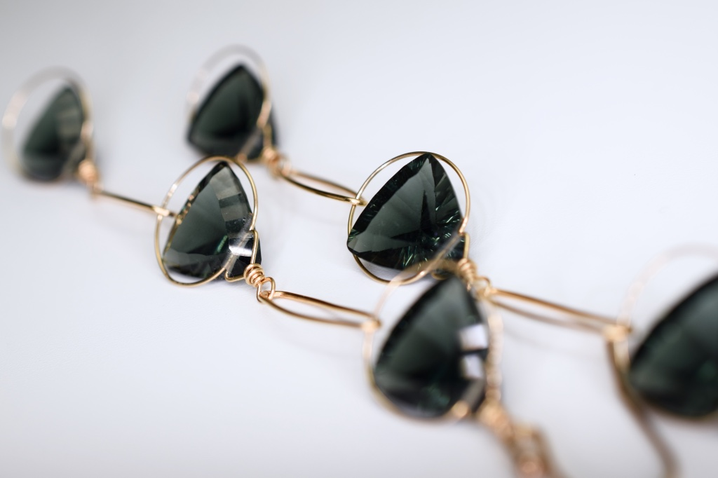 fancy trillion cut quartz triple drop gold earrings