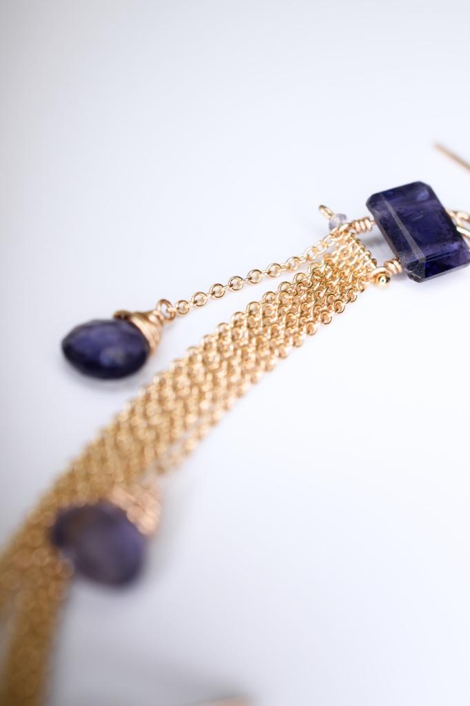 emerald cut iolite multi briolette gold chain tassel earrings