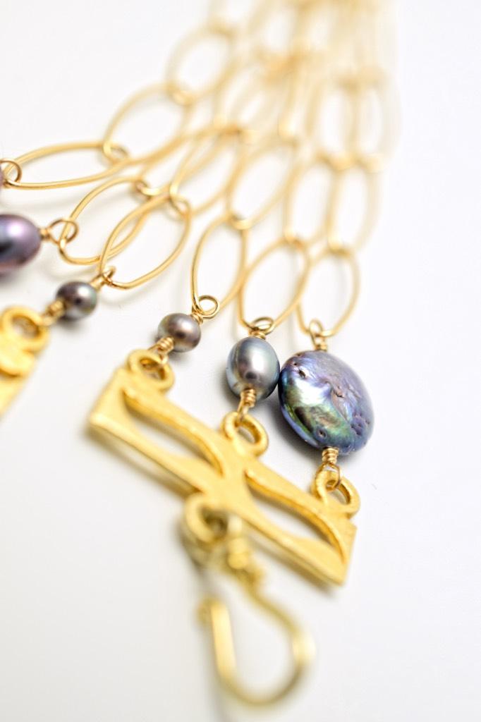 fancy cut quartz multi drop gold chain link necklace