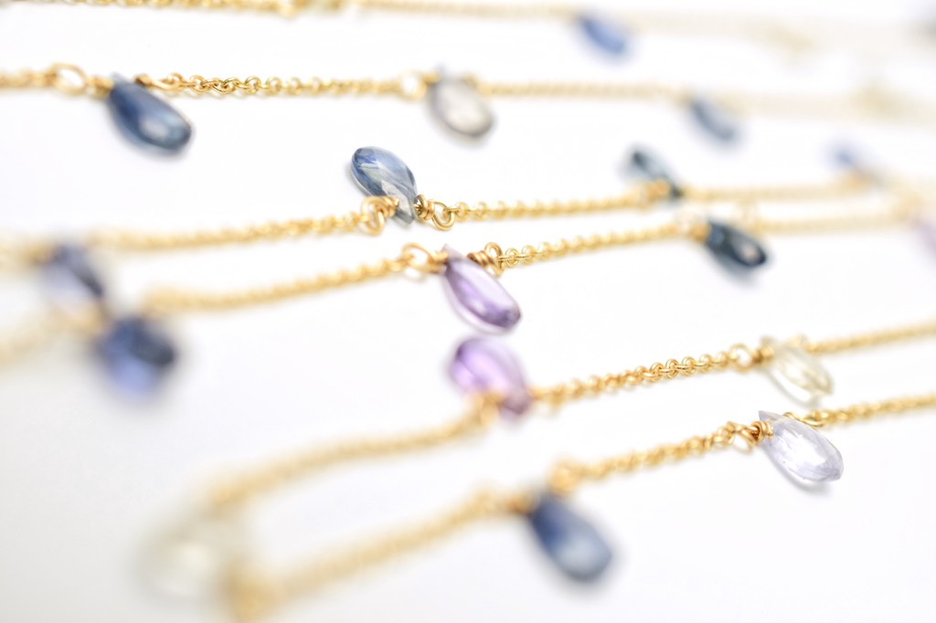 sapphire gold layering necklace