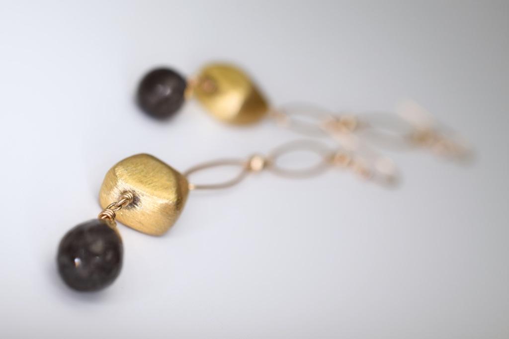 labradorite briolette gold chain link drop earrings