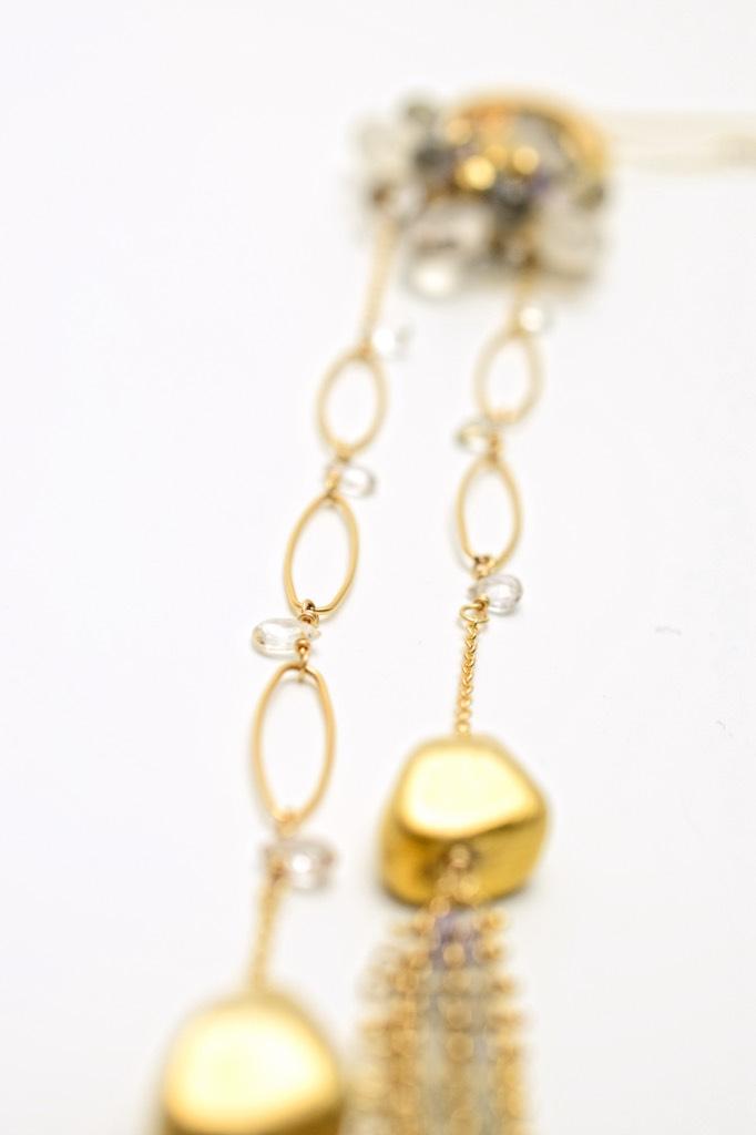 gemstone druzy double tassel chain mail tassel long necklace