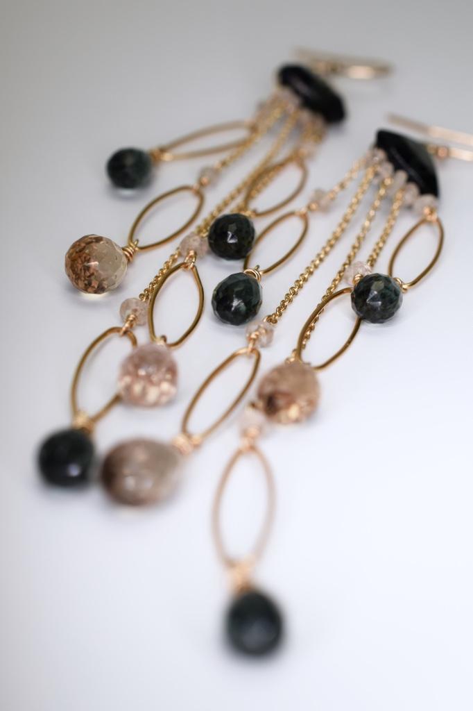fancy trillion cut quartz multi chain link drop earrings