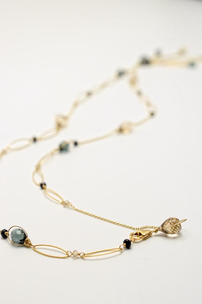 fancy trillion cut quartz multi gold chain link necklace