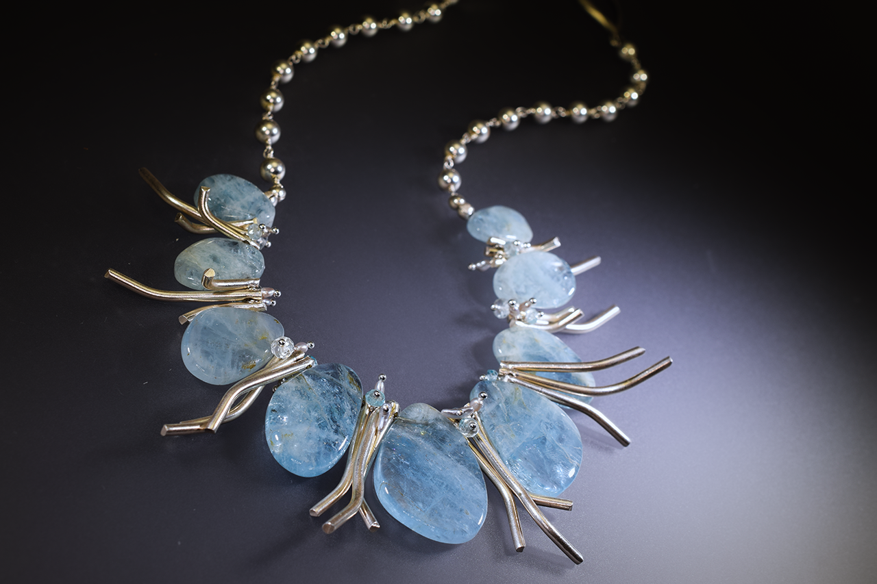 aquamarine statement collar necklace with hill tribe silver