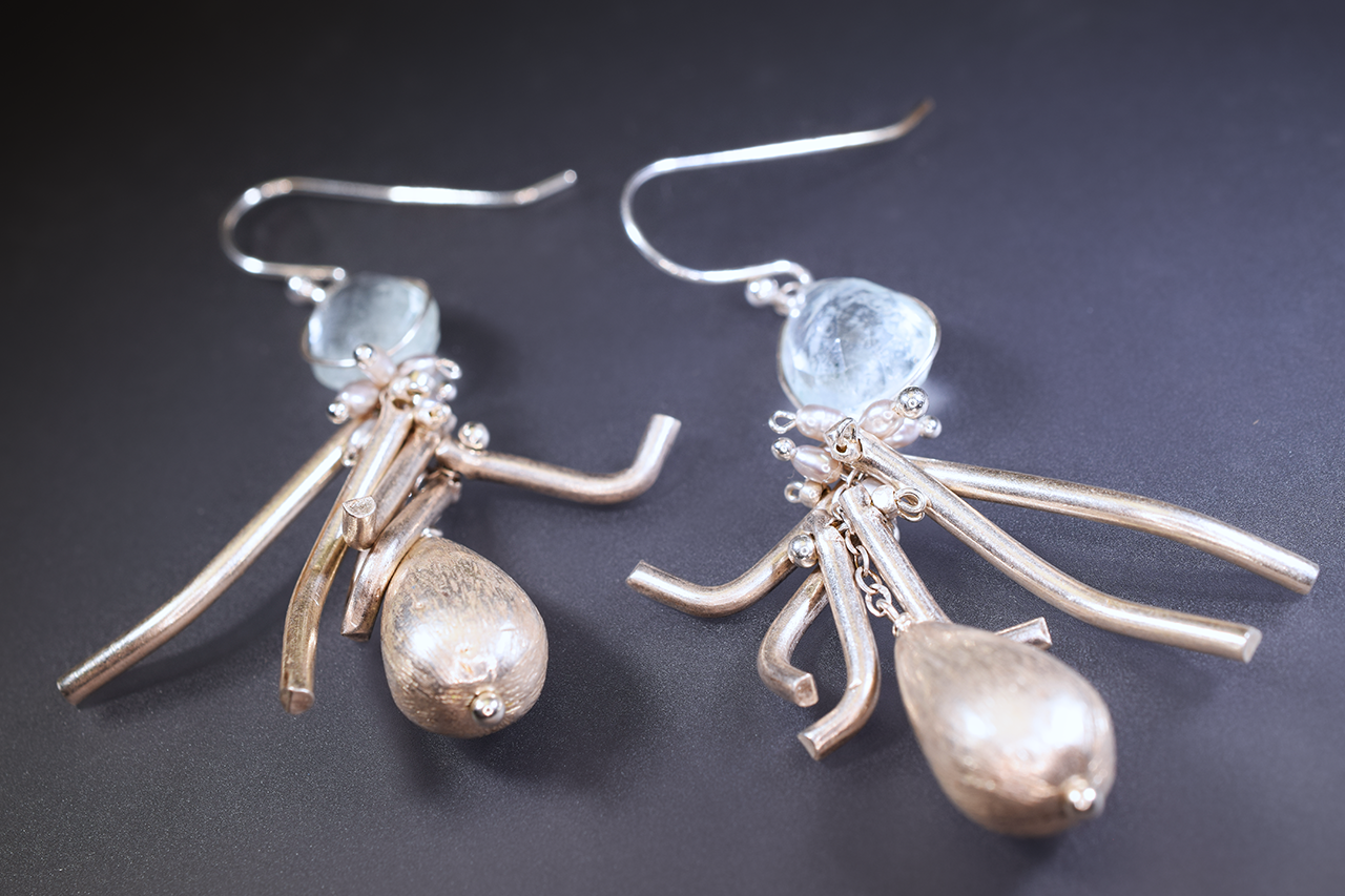 aquamarine earrings with hill tribe silver