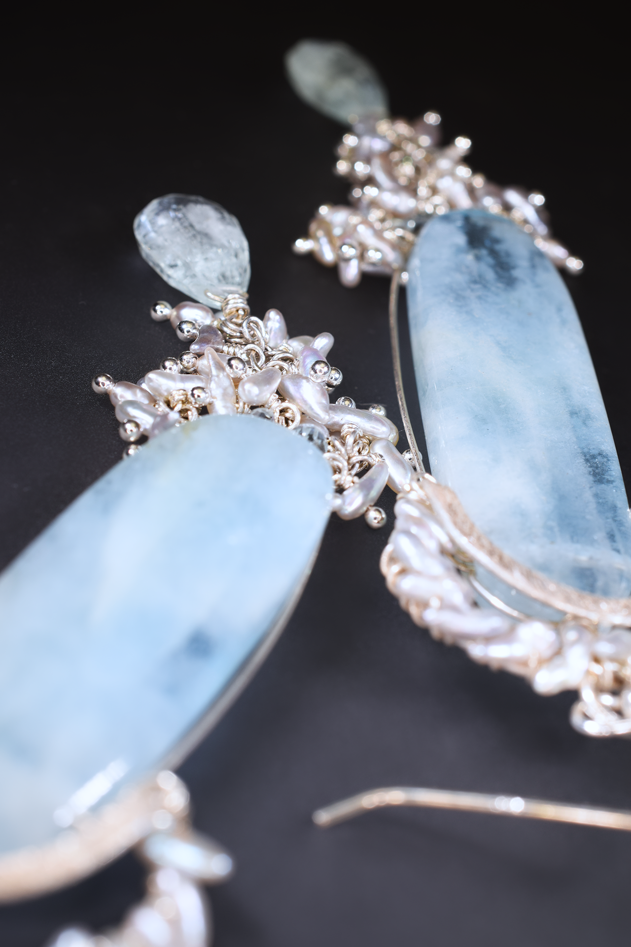 long aquamarine pendant earrings with sterling silver