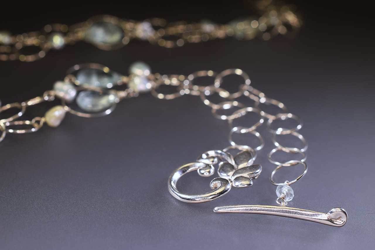 triple drop aquamarine long necklace
