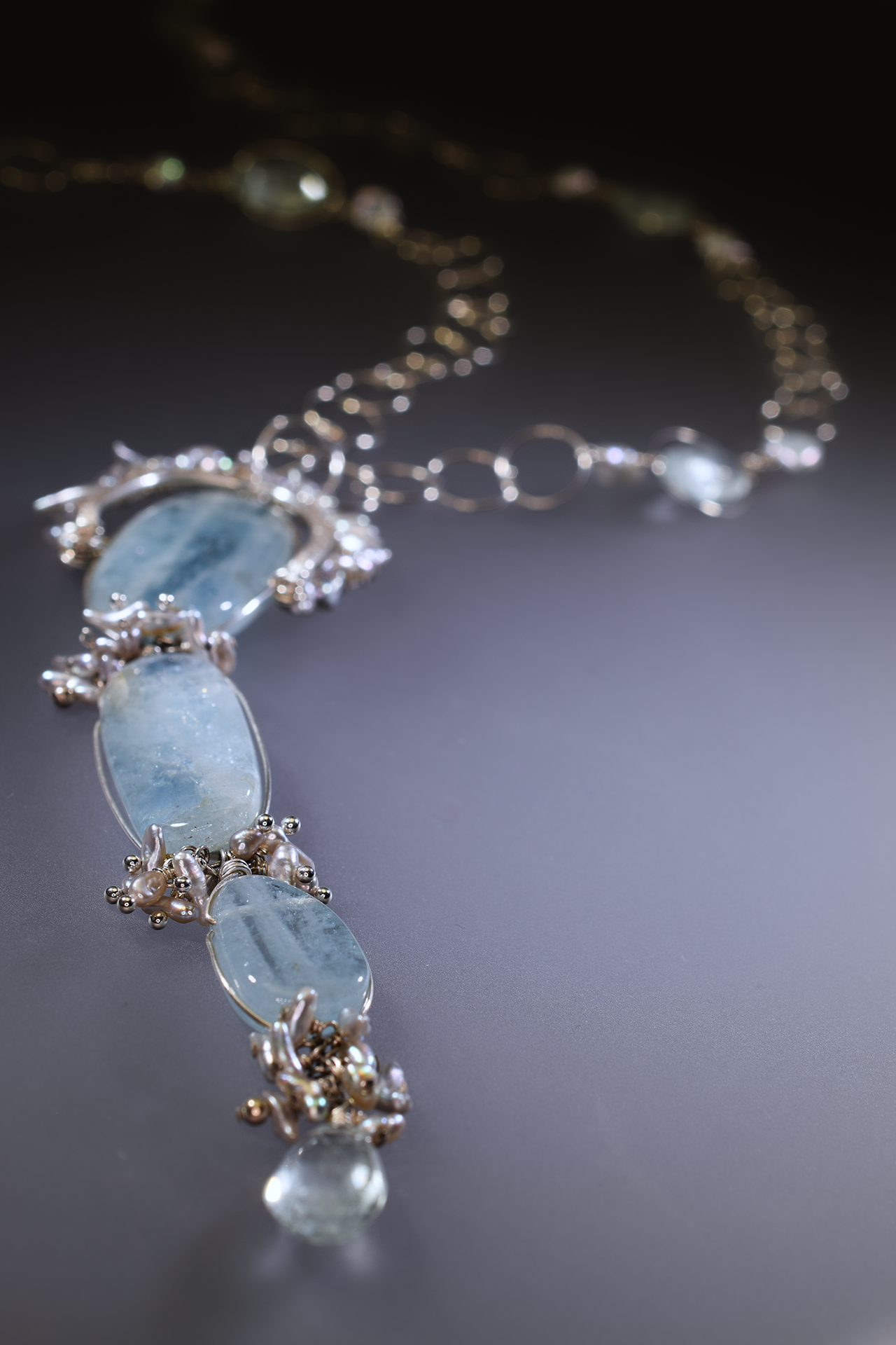 triple drop aquamarine long necklace