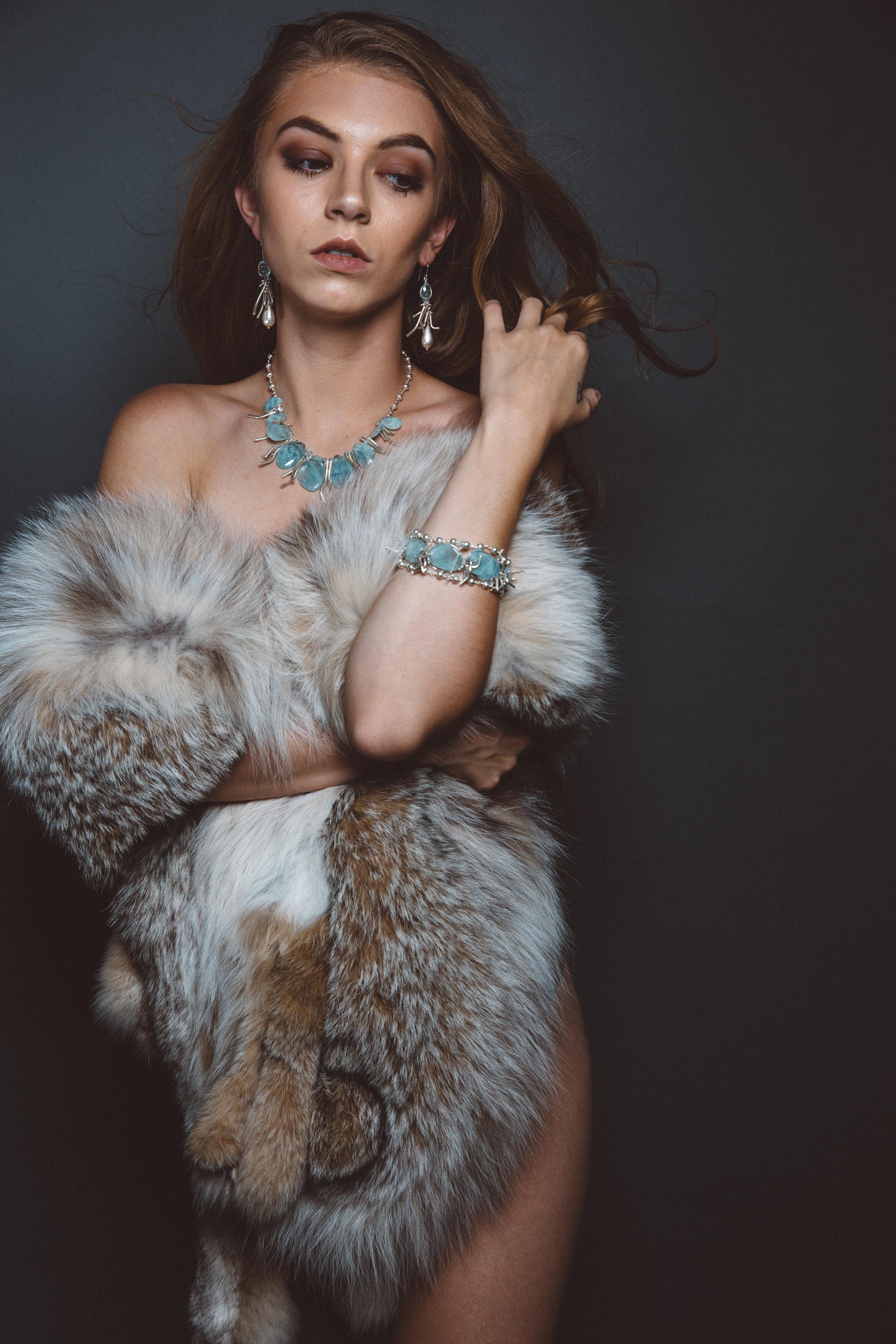 model wearing aquamarine bracelet