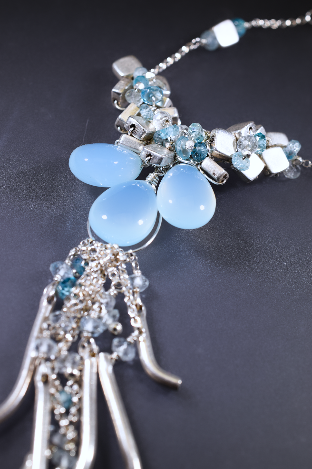 Chalcedony and hill tribe silver necklace