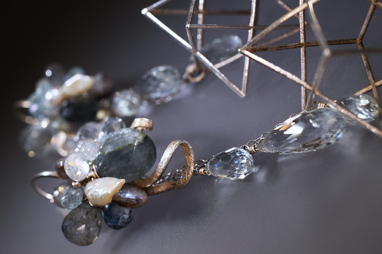 gemstone statement earring with 3D printed sterling silver merkabas