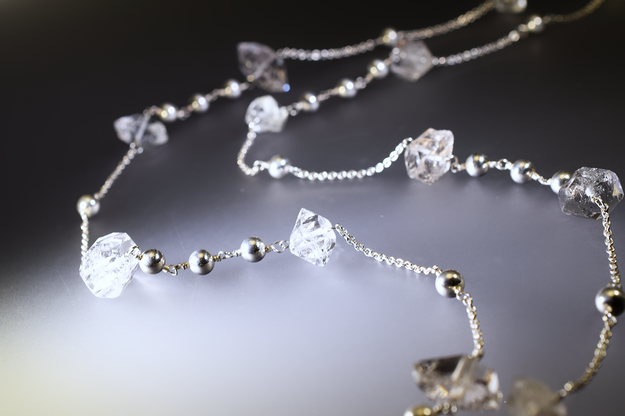 herkimer diamond and silver long necklace