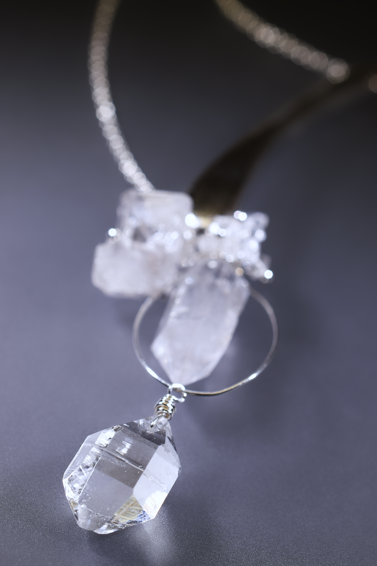 casted sterling silver bar necklace with herkimer diamonds