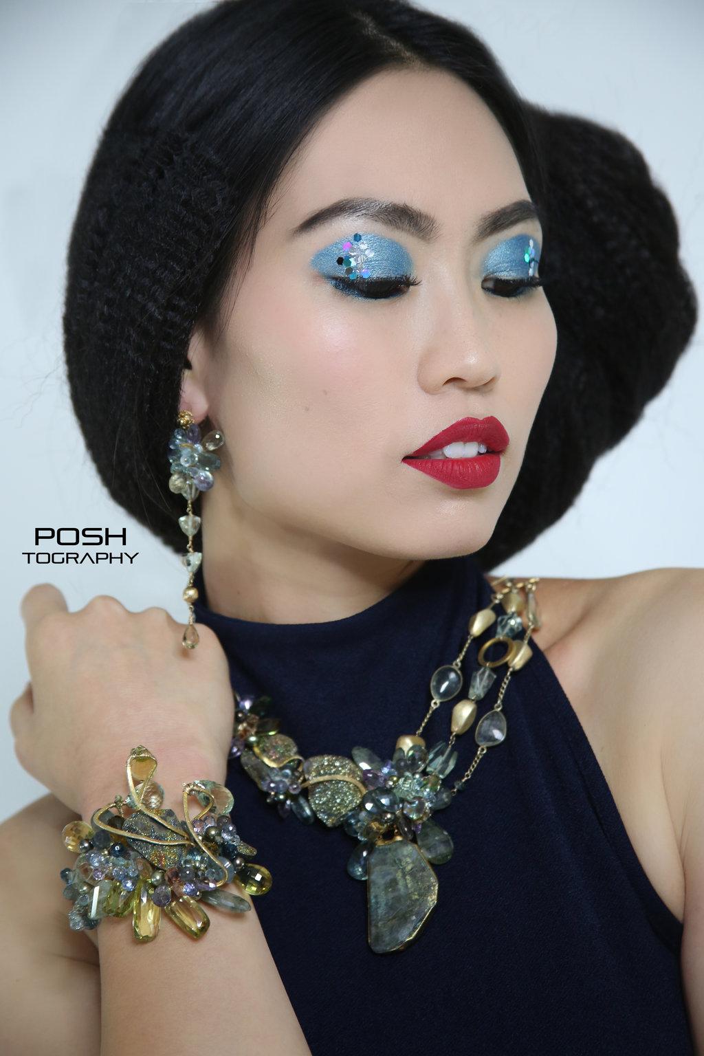model wearing rainbow pyrite earrings