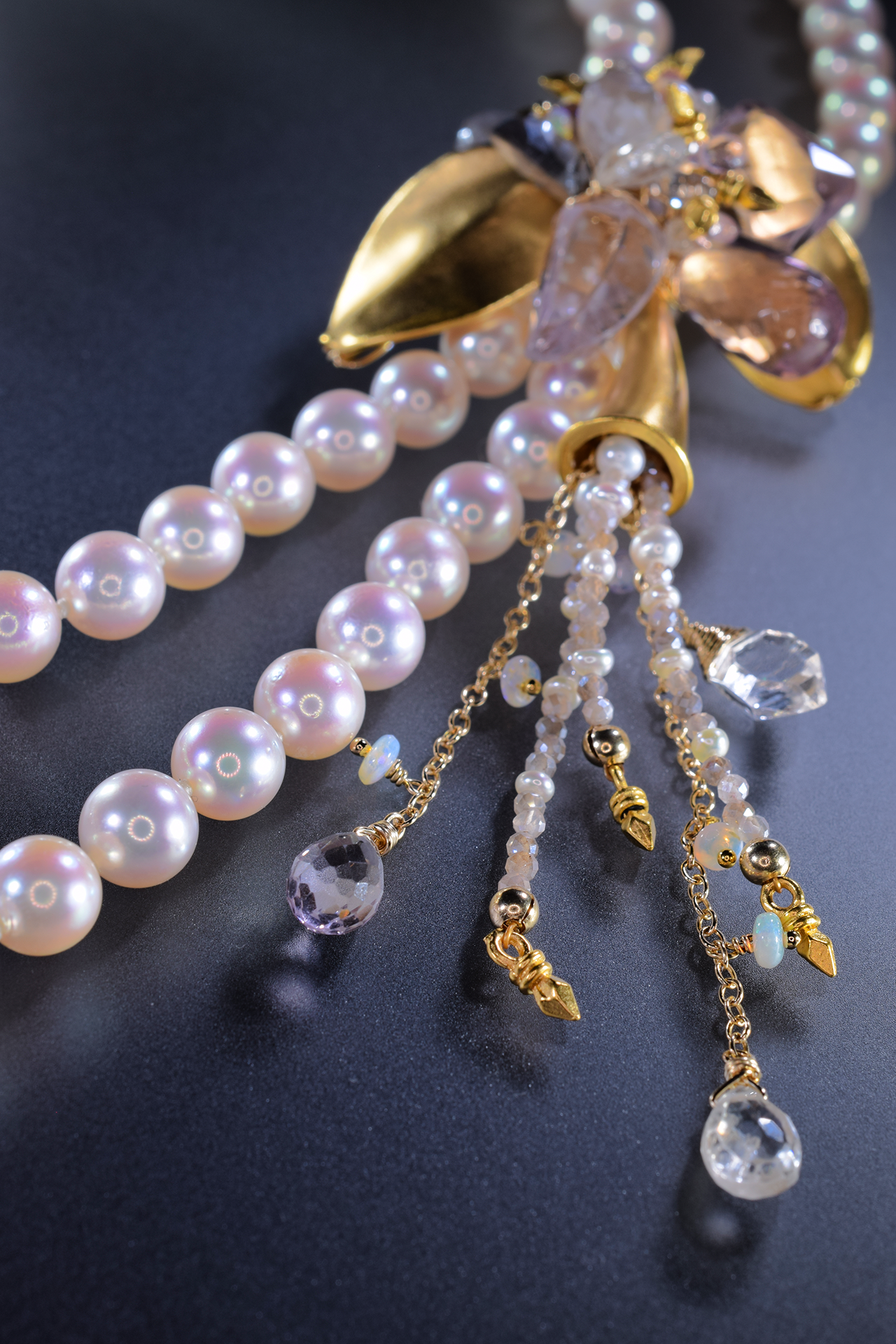 double strand pearl necklace with gemstone accents