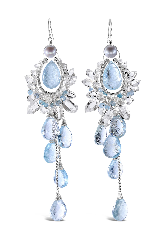 custom earrings made of herkimer diamonds and aquamarine
