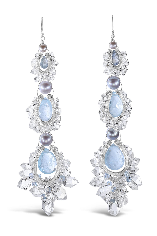 herkimer aquamarine and sterling silver custom earrings