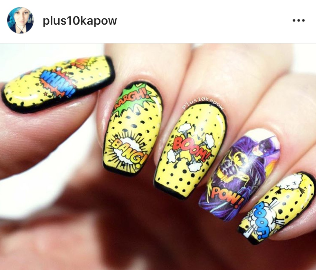 No bottle, thumb design shown, nails held in line pressed together, photo frame rectangular rather than typical instagram square