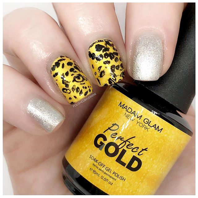 AD | Gifted  Here is Perfect Gold & Perfect Silver by @madam_glam 🔥 They are both stunning 💅🏻 I decided to use my @beautybigbangs stamping plate 019 to add a leopard print design over the gold, and I think it works quite well! You can find discount codes for both @madam_glam and @beautybigbangs in my story highlights 💖