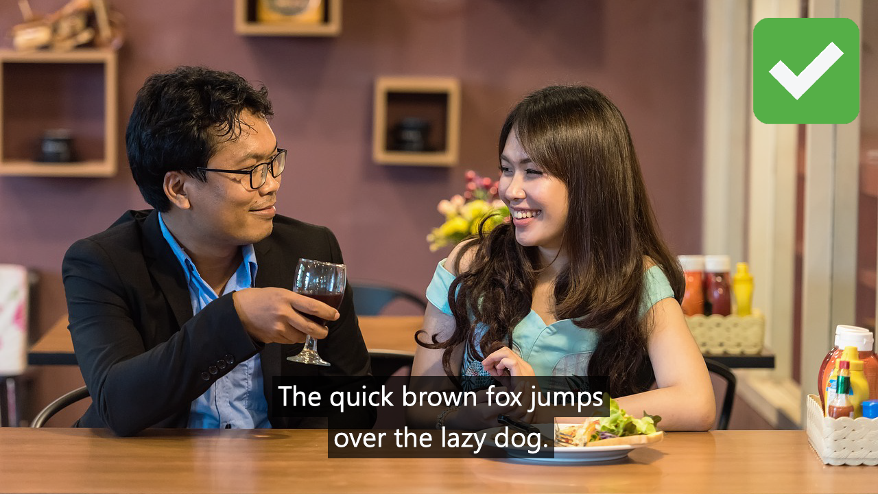 The captions here are big enough to read with a clear font. Having a box behind the text makes the captions easier to follow.