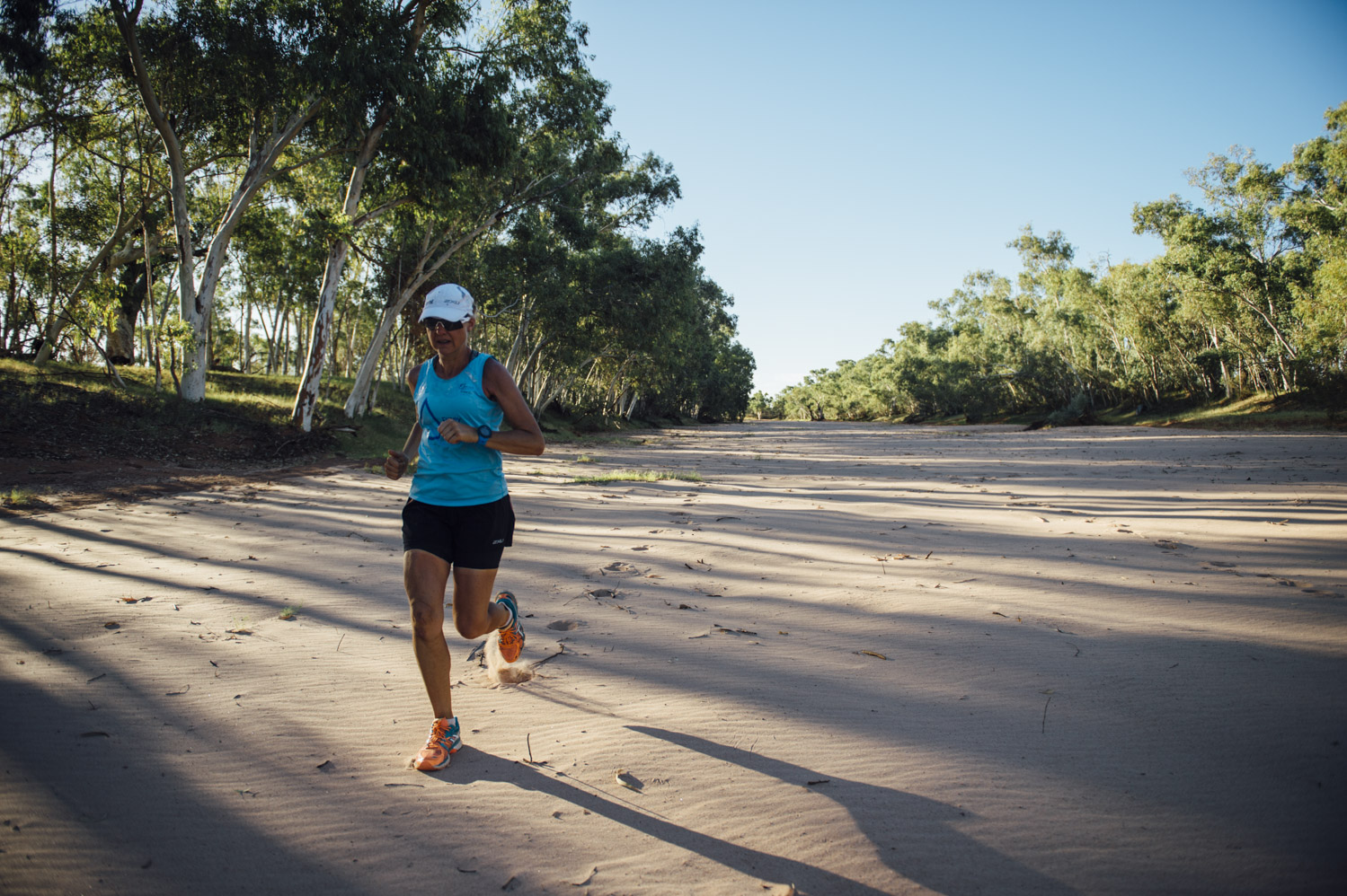 Mina Guli Running Down a Dry Riverbed in Australia