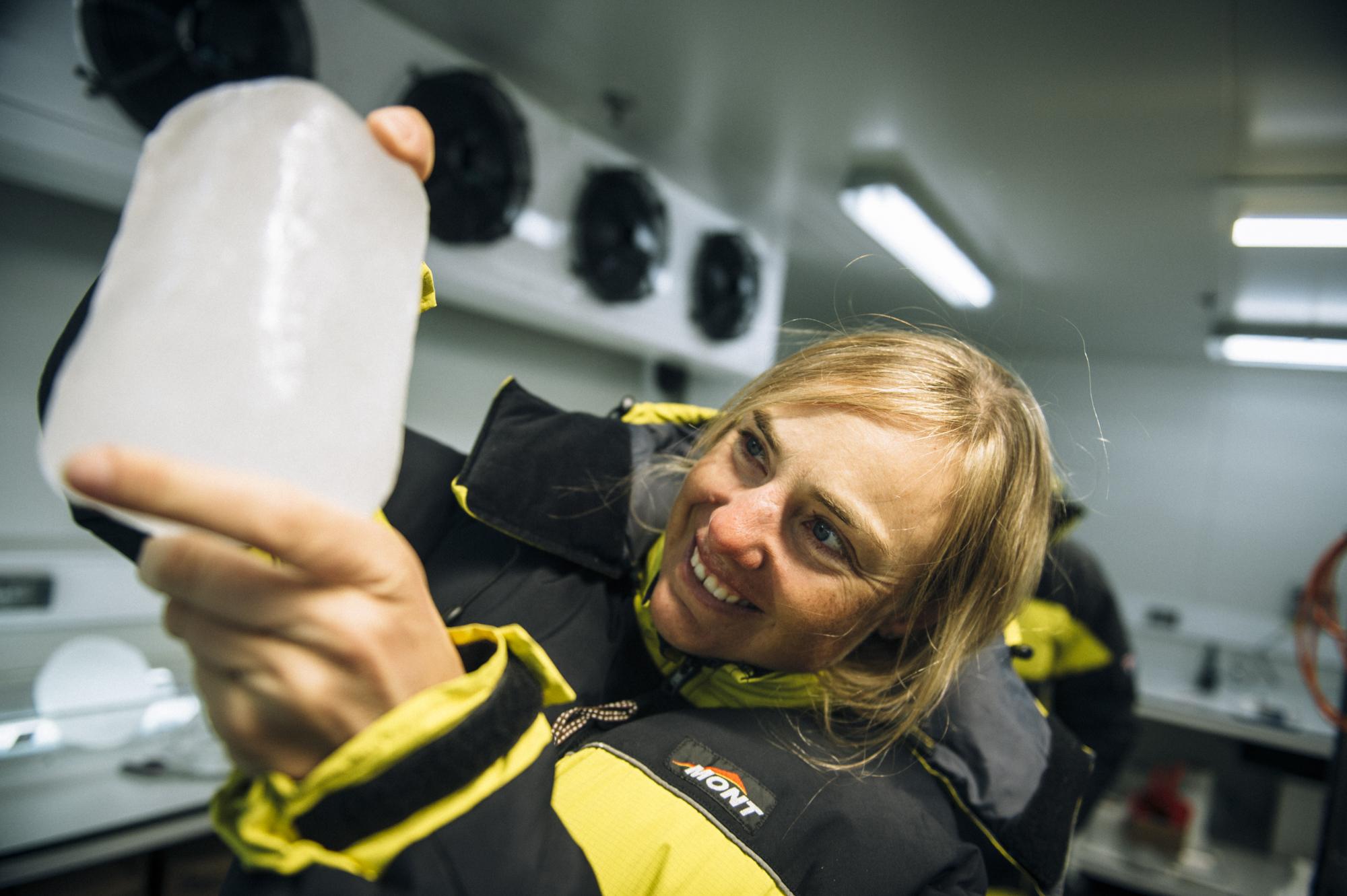 Mina Guli in Antarctica holding an ice core sample