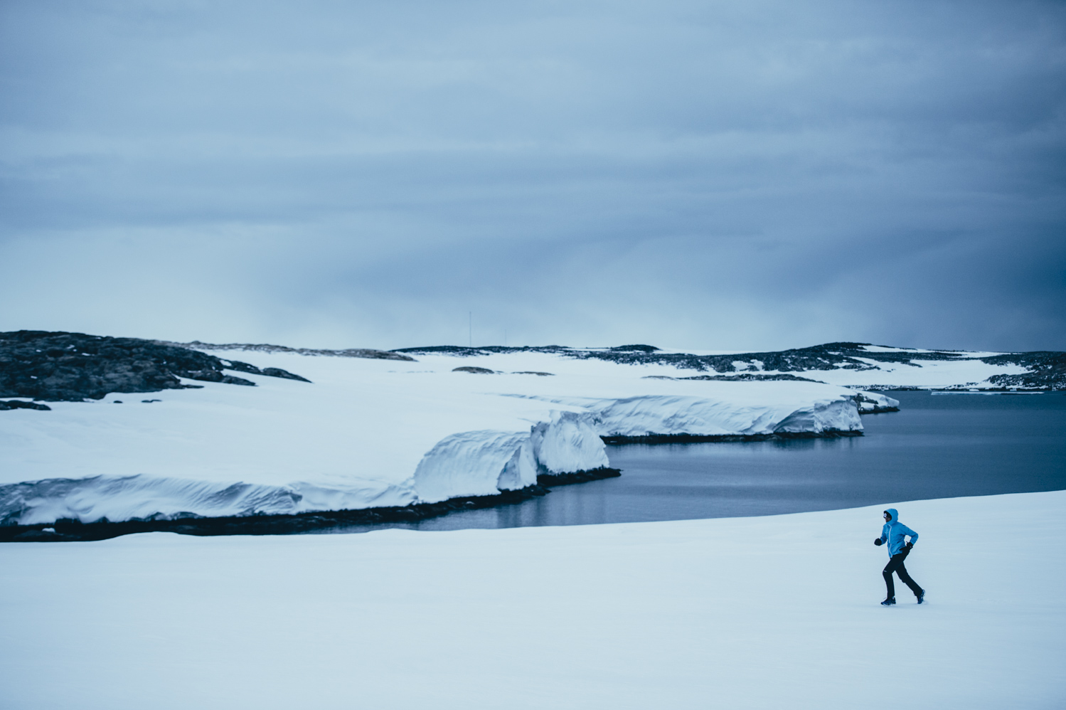 Mina Guli running in Antarctica