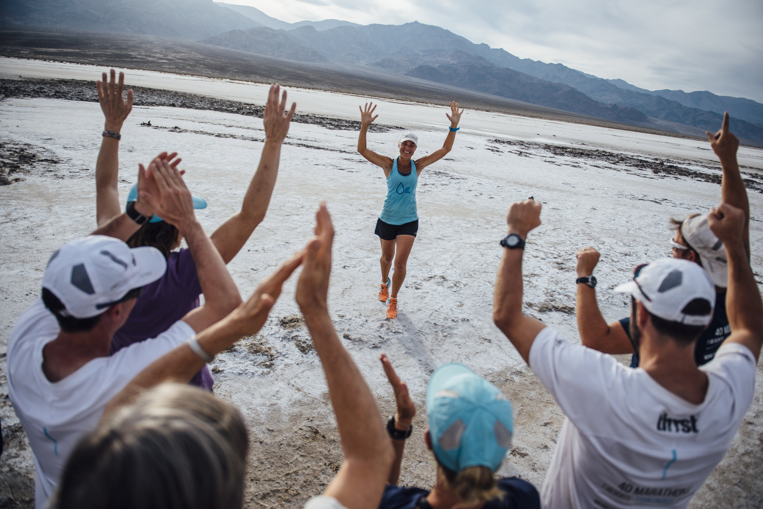 Mina Guli running on Bad Water Flats in USA