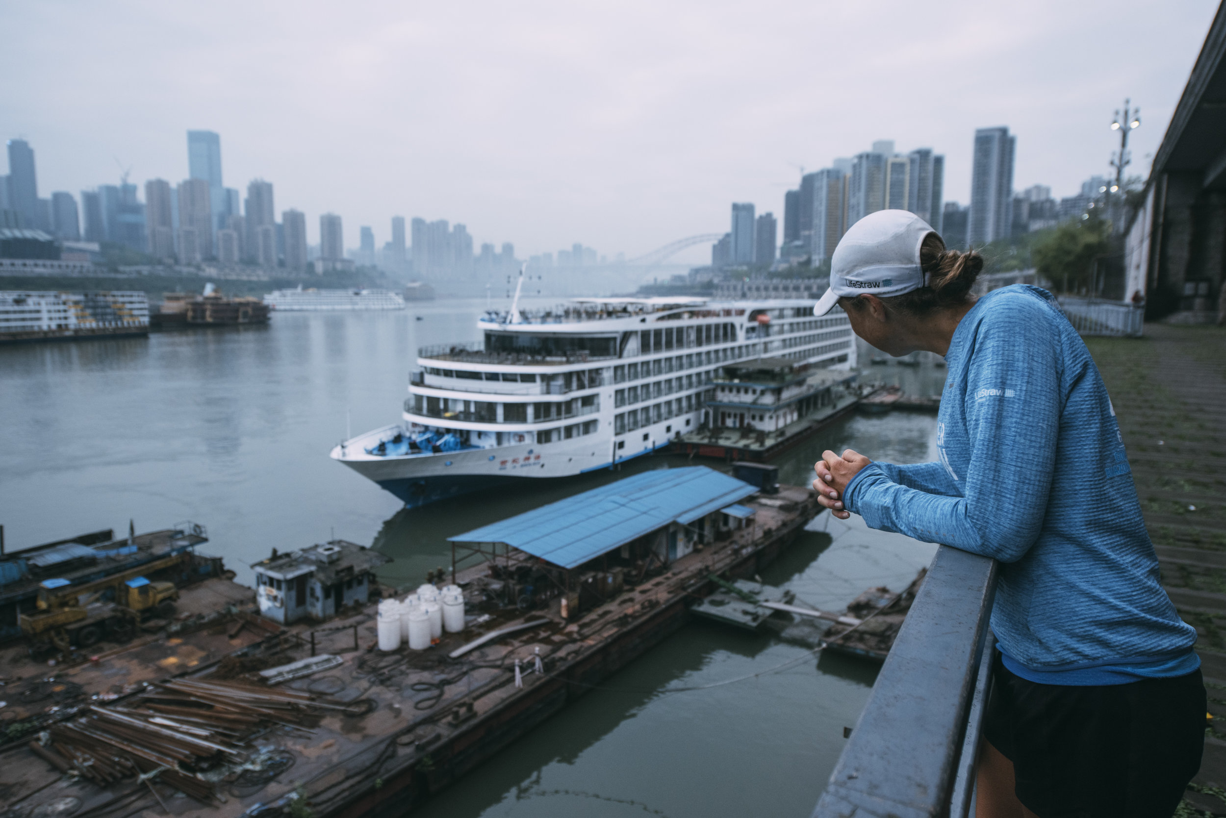The Yangtze River is the world's busiest inland waterway, and I've come to run here to see how her water is being protected from pollution and contamination. Photo credit: Kelvin Trautman