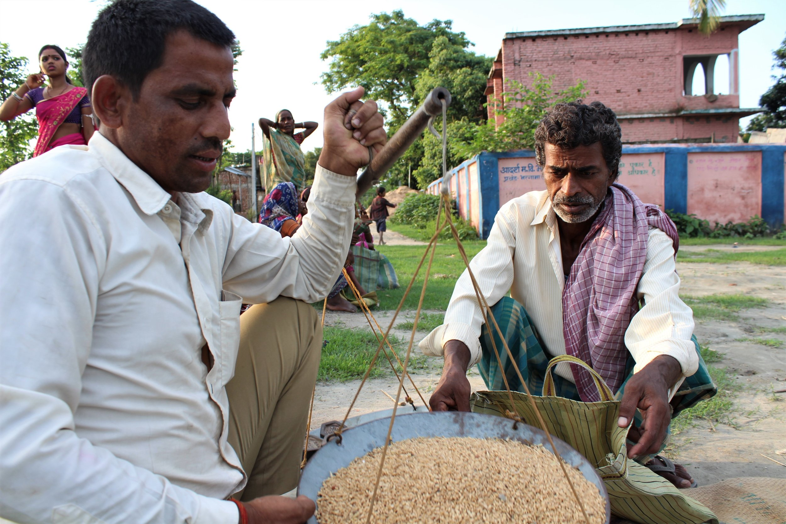 An upper caste shopkeeper buys grains from a Dalit landless worker. Credit: Atul Anand