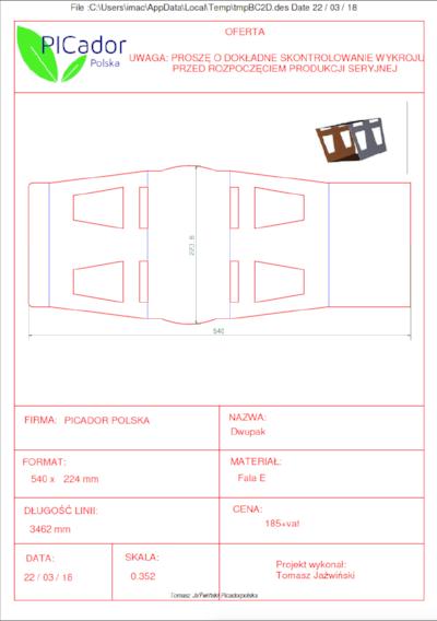 Tabelka z wyceną i poglądowym projektem wykrojnika