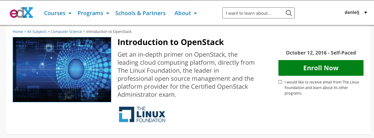 OpenStack course offered by EdX and The Linux Foundation