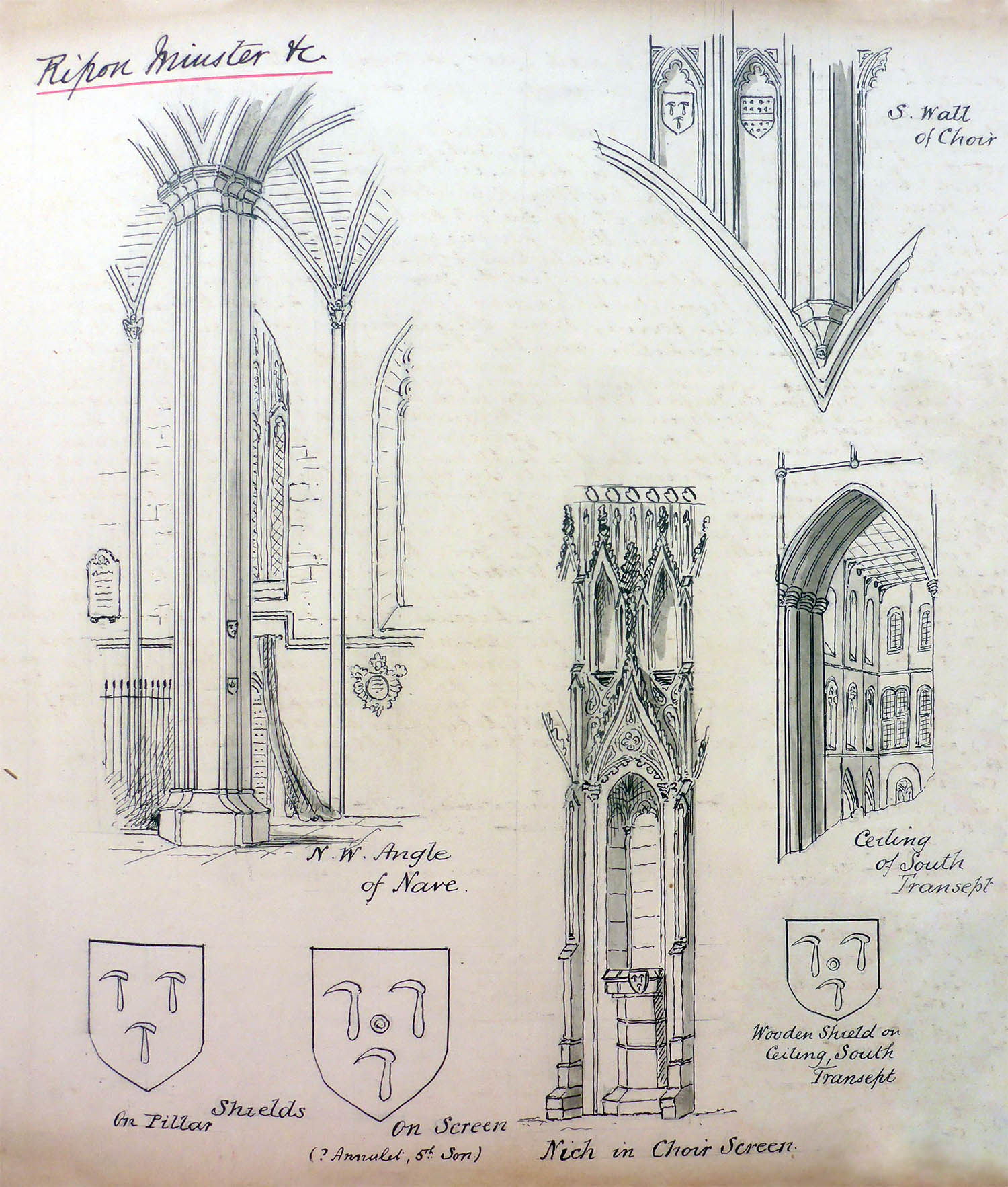 Charles' sketches of Ripon Cathedral