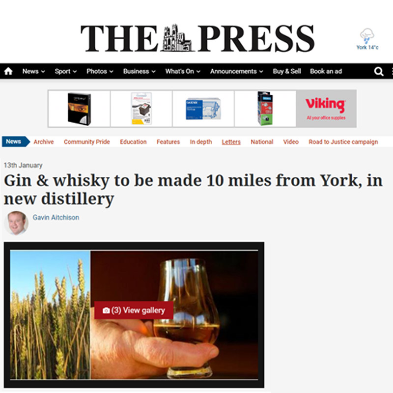 The York Press   - Gin & Whisky to be Made 10 Miles From York