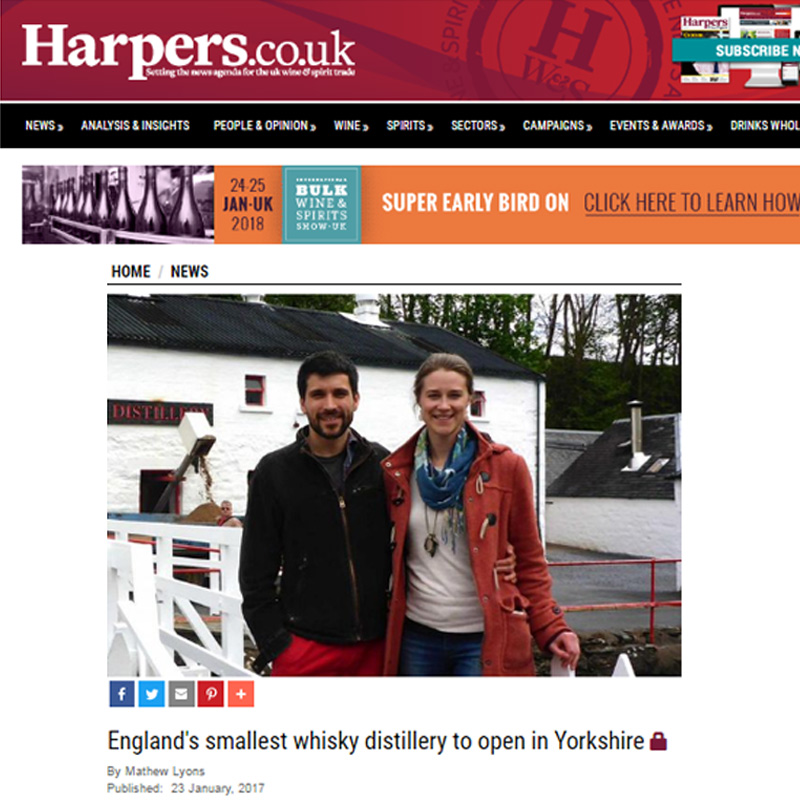 Harpers     - England's Smallest Whisky Distillery to Open in Yorkshire
