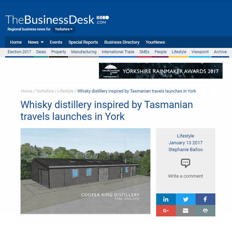 The Business Desk     - Whisky Distillery Inspired by Tasmanian Travels Launches in York