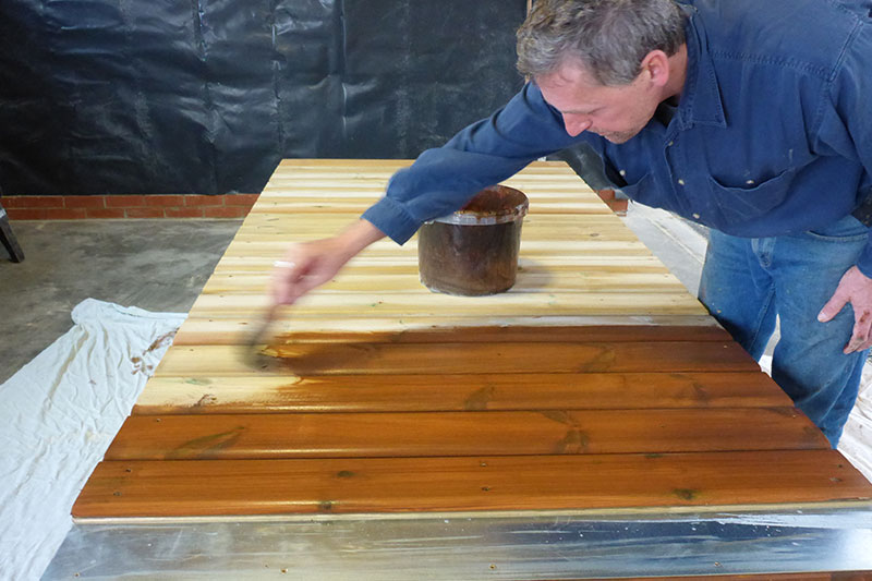 Staining the exterior doors