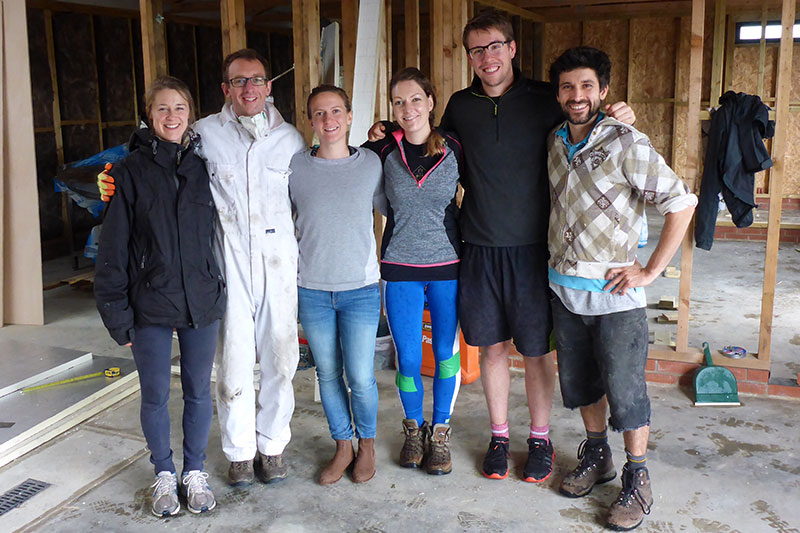 Abbie, Charlie, Katie, Nici, Jake and Chris after a triumphant day's work
