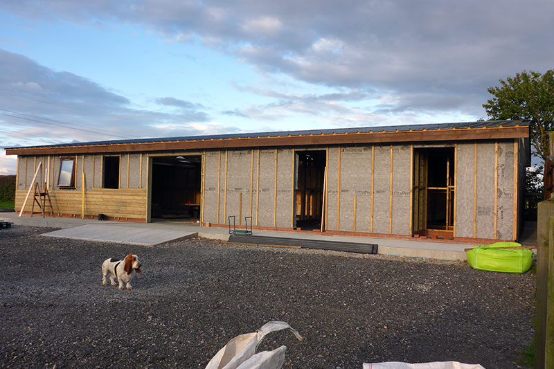Breather membrane in place and cladding begun