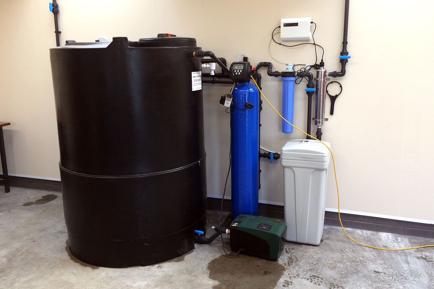 The cold liquor tank and water filtration system.