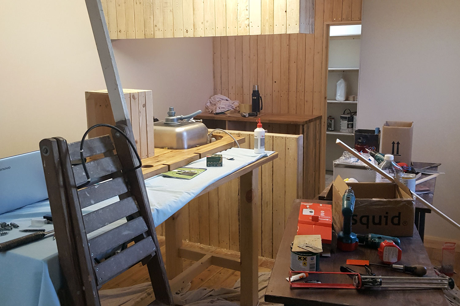 The Tasting Room beginning to take shape.