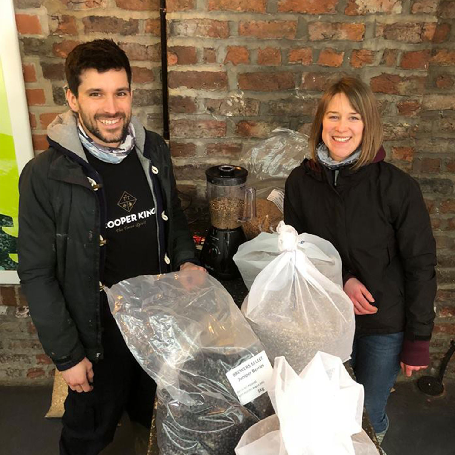 Abbie and Chris of Cooper King Distillery with kilos of botanicals for the brew