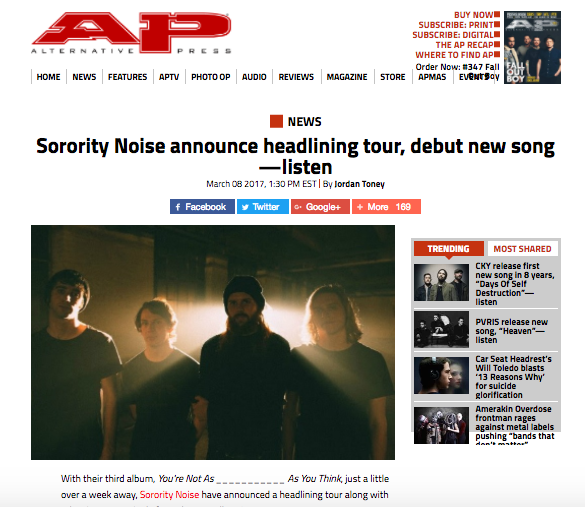 Photo used for Alternative Press Article